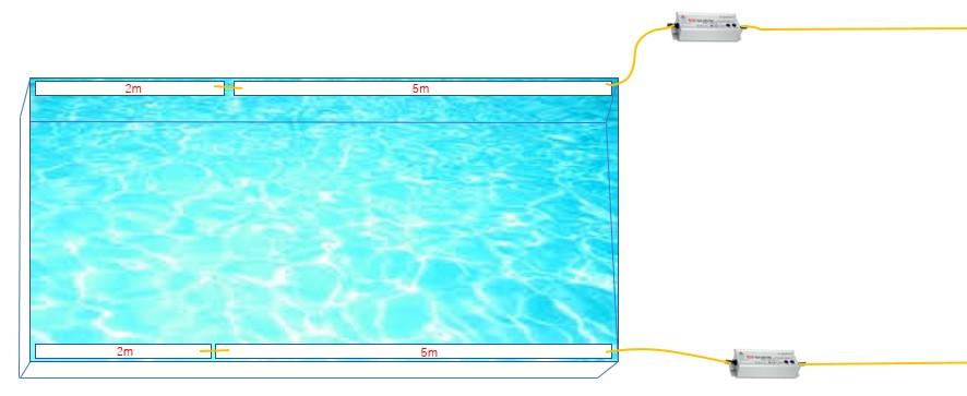 水盤(5m×2本,2m×2本テープライト2系統)
