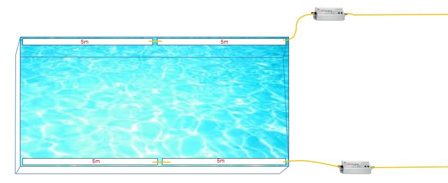 水盤(5m×4本テープライト2系統)