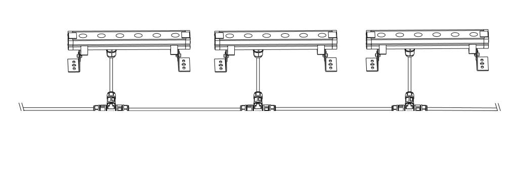 Tタイプ中継コネクタと防水ケーブル接続例