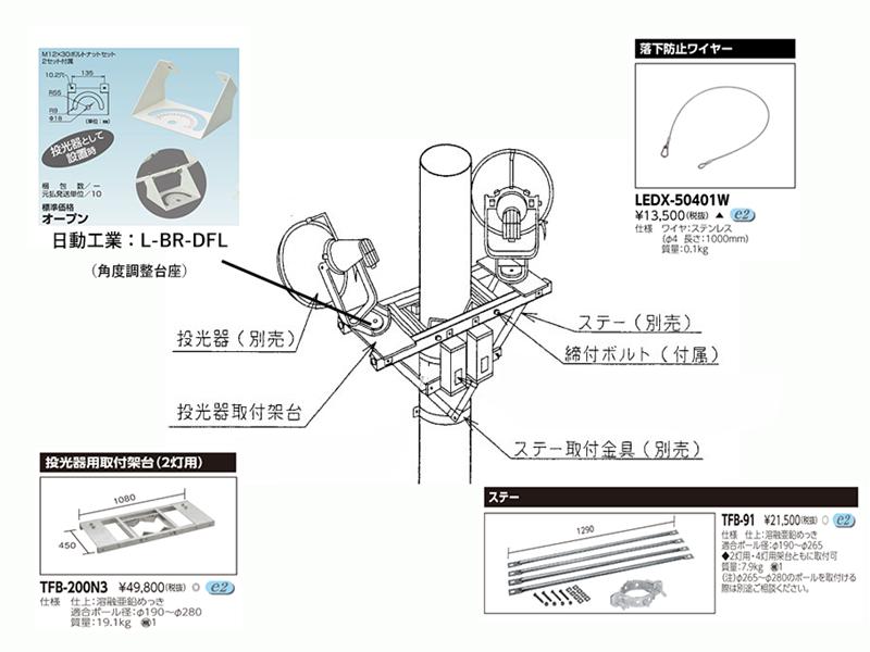 設置方法③2灯式投光器架台