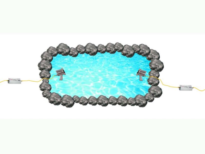置き型水中照明の配線方法をご紹介