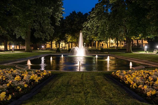 公園噴水照明