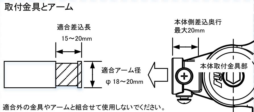 アームライト取付金具とアーム径