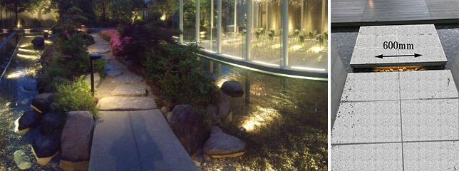 リゾート施設の池通路